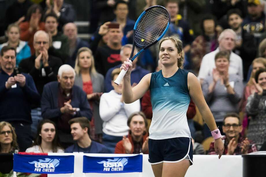 Caty McNally of Ohio, 17, waves to spectators after defeating Jessica Pegula of New York, 24, to win the Dow Tennis Classic on Sunday, Feb. 3, 2019 at the Greater Midland Tennis Center. McNally won 6-2, 6-4. (Katy Kildee/kkildee@mdn.net) Photo: (Katy Kildee/kkildee@mdn.net)