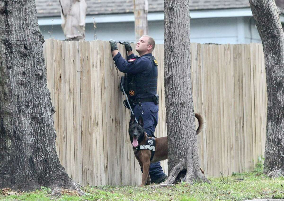 A K-9 unit with the Harris County Constable's Office checks a residential area for prisoner Cedric Joseph Marks after he escaped from his private prisoner transport near North Loop 336 and Highway 75, Sunday, Feb. 3, 2019, in Conroe.
