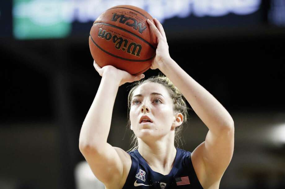 UConn's Katie Lou Samuelson takes a foul shot in the first half against Cincinnati on Saturday. Photo: John Minchillo / Associated Press / Copyright 2019 The Associated Press. All rights reserved.