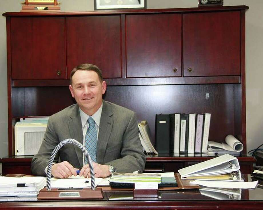 Kevin Head poses in his office at city hall as his first day on the job as city administrator was Jan. 22. Photo: Charles Bolinger | The Intelligencer
