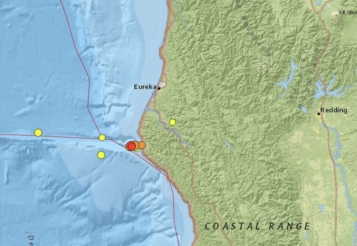 A cluster of earthquakes struck off the coast of California, near Petrolia in Humboldt County, on Saturday and Sunday.