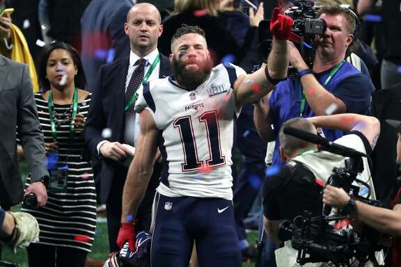 ATLANTA, GEORGIA - FEBRUARY 03: Julian Edelman #11 of the New England Patriots celebrates his teams 13-3 win over the Los Angeles Rams during Super Bowl LIII at Mercedes-Benz Stadium on February 03, 2019 in Atlanta, Georgia. (Photo by Streeter Lecka/Getty Images)