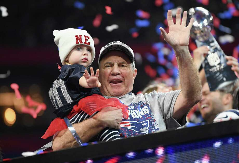 Patriots coach Bill Belichick celebrates with his granddaughter Blakely after winning Super Bowl LIII on Sunday. Photo: Harry How / Getty Images / 2019 Getty Images