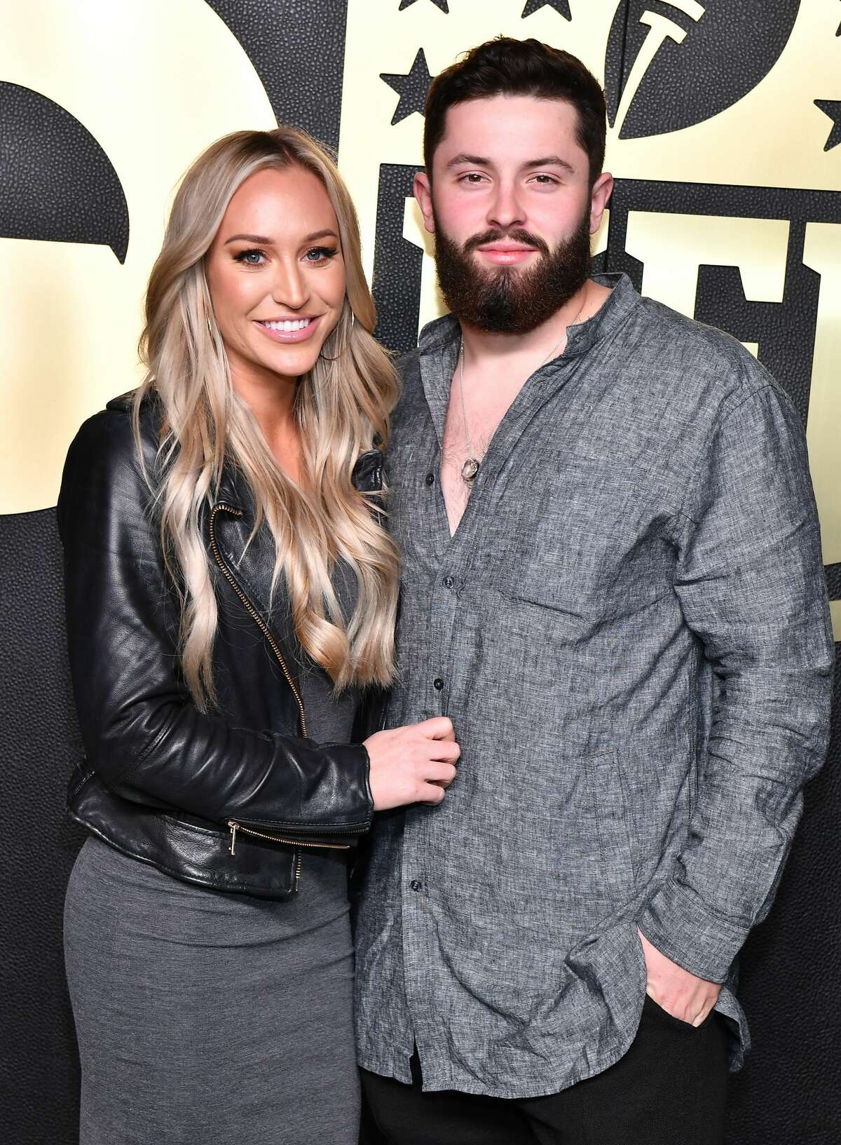 ATLANTA, GEORGIA - FEBRUARY 02: Emily Wilkinson and NFL Player Baker Mayfield attends GQ 2019 NFL Honors After Party at Gallery 874 on February 02, 2019 in Atlanta, Georgia. (Photo by Paras Griffin/Getty Images)