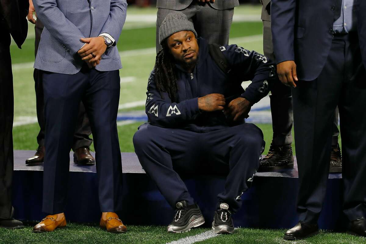 ATLANTA, GA - FEBRUARY 03: Marshawn Lynch looks on prior the start of the Super Bowl LIII at Mercedes-Benz Stadium on February 3, 2019 in Atlanta, Georgia. (Photo by Kevin C. Cox/Getty Images)