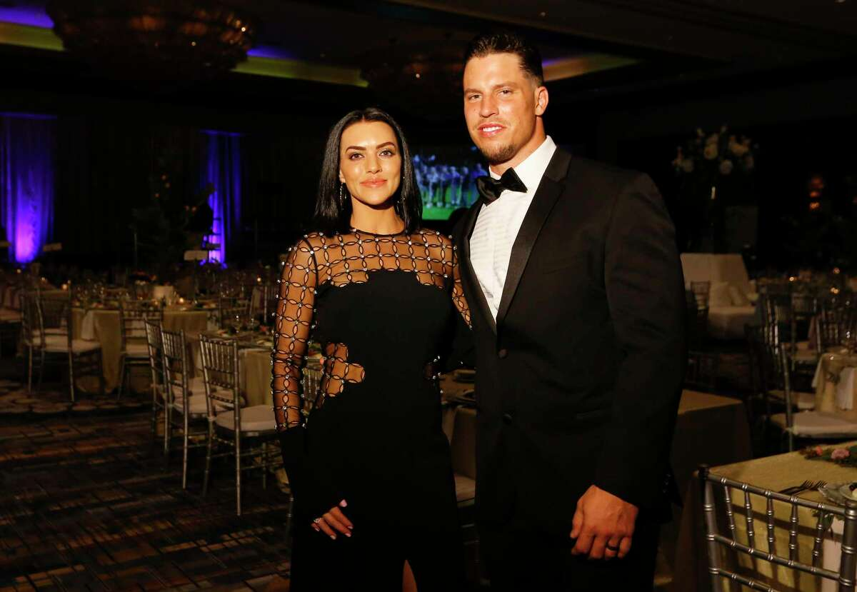 Megan and Brian Cushing pose for a photograph at the Park Lovers' Ball: La Jete du Jardin, The Garden Party at the Hilton Americas-Houston on Saturday, Feb. 2, 2019, in Houston.