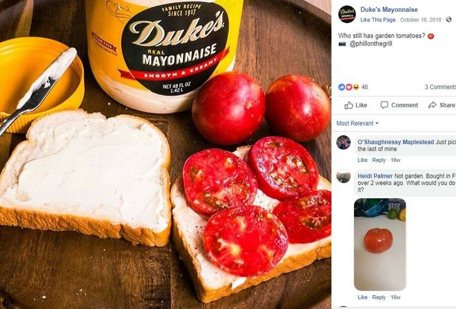 Duke's MayonnaiseSouthern mayonnaise brands like Duke's tend to be a little tangier and looser in consistency than national brands like Hellmann's and Miracle Whip, Southern Living reports.  Photo: Facebook