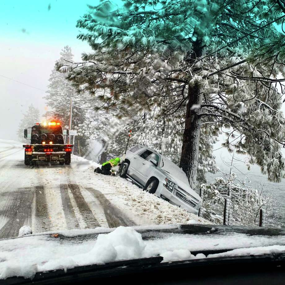This car slid off Highway 28 near Lake Tahoe on Sunday afternoon due to the winter conditions. Photo: CHP Truckee