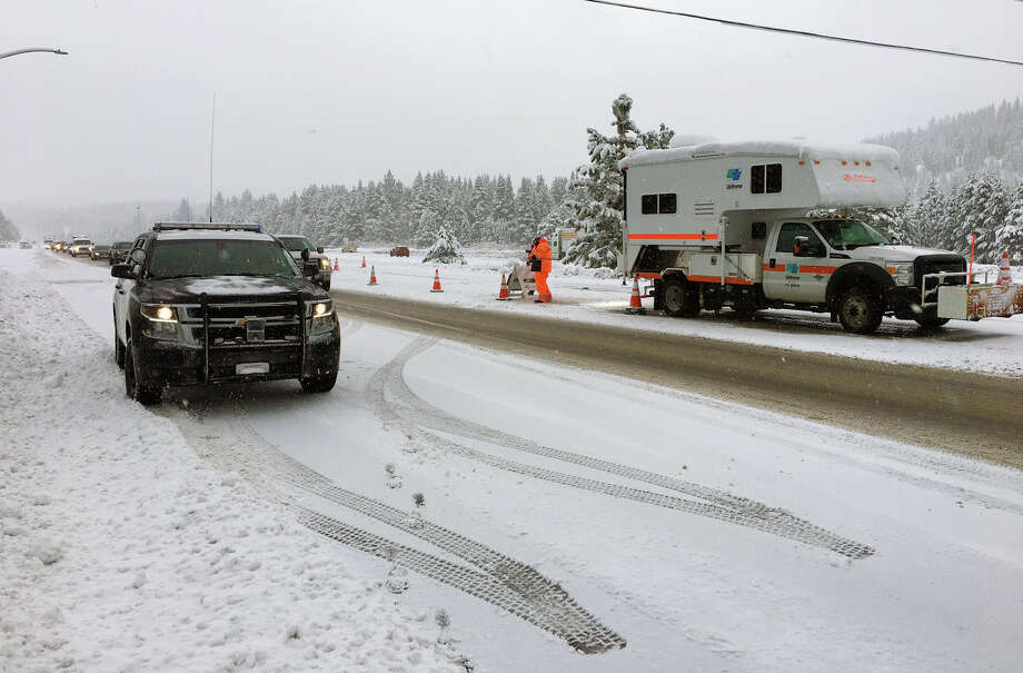 I-80 was shut down in both directions in the Sierra Monday due to whiteout conditions. Photo: CHP Truckee