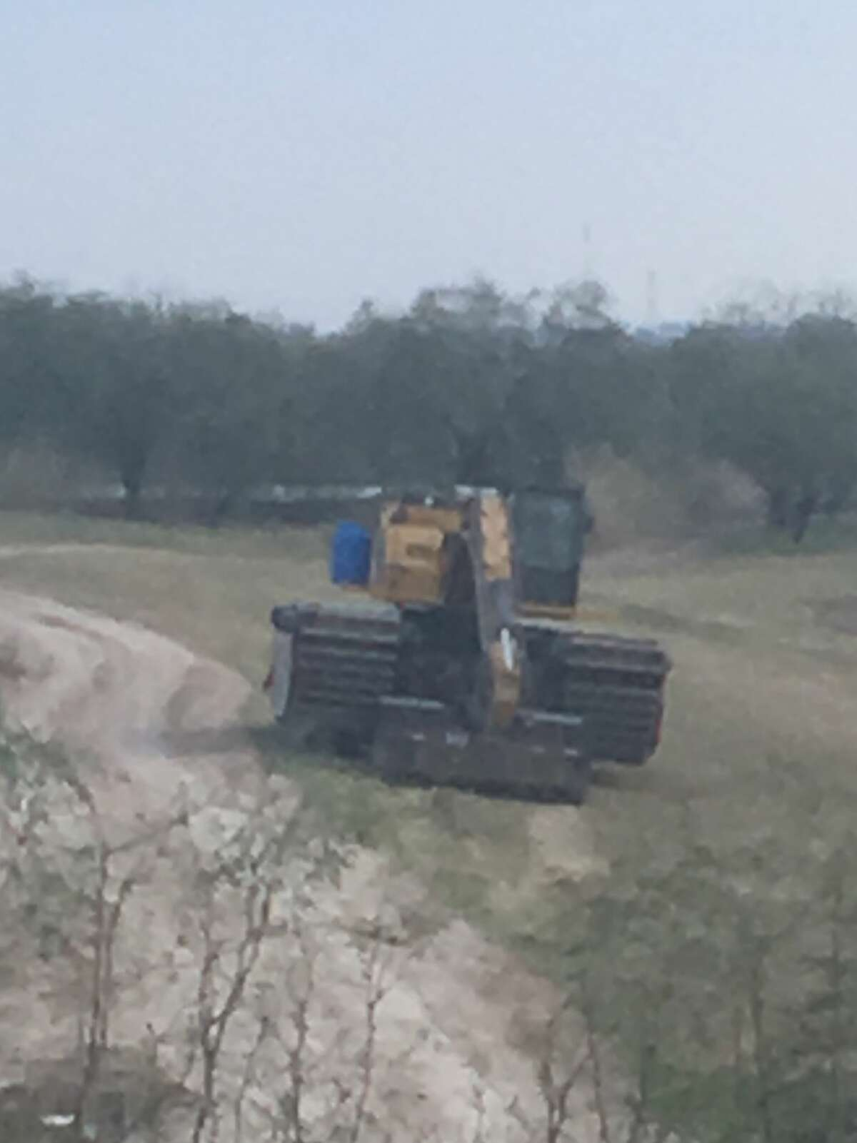 Lorri Burnett photographed equipment used for the beginnings of border wall construction at the National Butterfly Center on Sunday, Feb. 3, 2019.