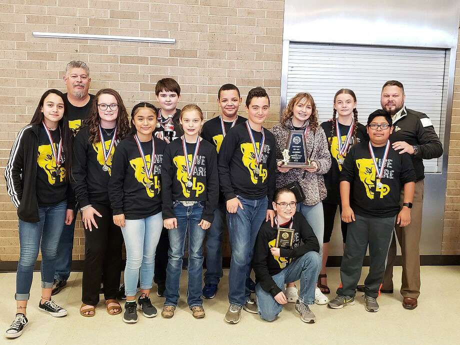 Liberty Middle School Panther Players traveled to Tarkington for the District 21-4A One Act Play competition where they won the District Runner-Up Trophy for their performance of Farewell to Galatea. Cast members and their teachers from left are Emerson Rawlinson, Gustavo Figeac, Kera Grieve, Sofia Ortega, Zak DeBerry, Ashlyn Didway, Grant Burgos, Josiah Slack, (kneeling) Ben Jenkins, Lily McNutt, Tru Heifner, Eduardo Mata, and Joe Roberts. Photo: Submitted