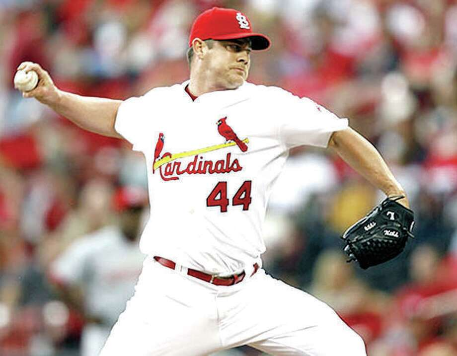 Cardinals pitcher Jason Isringhausen, a graduate of Southwestern High and Lewis and Clark Community College, delivers a pitch in a 2007 game at Busch Stadium. He is one of six players nominated to the 2019 St. Louis Cardinals Hall of Fame. Photo: File Photo