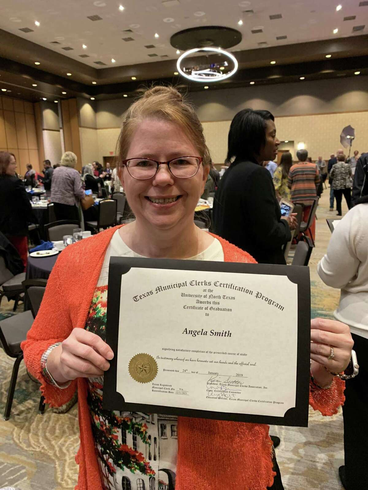 Angela Smith has graduated from the Texas Municipal Clerks Certification Program on January 24.