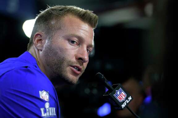 Los Angeles Rams head coach Sean McVay speaks to the media after the NFL Super Bowl 53 football game against the New England Patriots, Sunday, Feb. 3, 2019, in Atlanta. The Patriots won 13-3. (AP Photo/Chuck Burton)