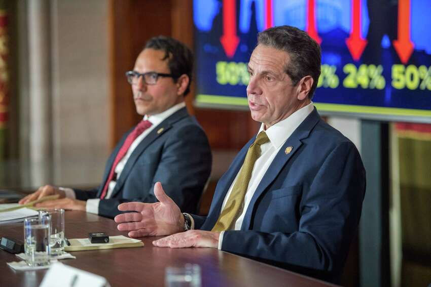 Gov. Andrew Cuomo, state Comptroller Tom DiNapoli and Budget Director Robert Mujica outline declining revenue collections for the state on Monday, Feb. 4, 2019. (Gov. Andrew Cuomo Flickr)