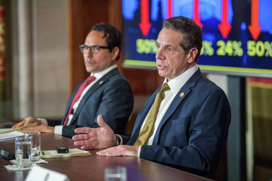 Gov. Andrew Cuomo, state Comptroller Tom DiNapoli and Budget Director Robert Mujica outline declining revenue collections for the state on Monday, Feb. 4, 2019. (Gov. Andrew Cuomo Flickr) Photo: Darren McGee, (Gov. Andrew Cuomo Flickr) / Office of Governor Andrew M. Cuomo