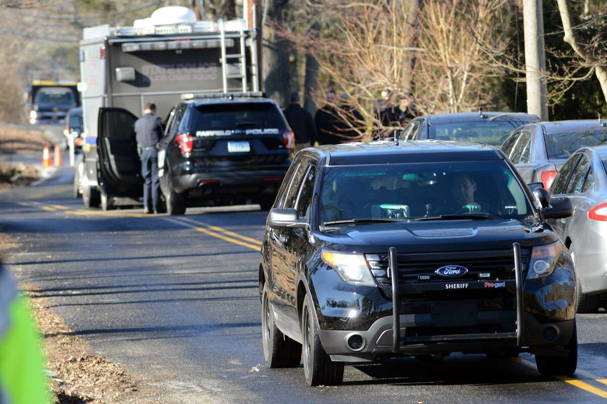 The scene looking down Catamount Rd., in Fairfield, Conn. Feb. 4, 2019. James Taylor, 75, of Fairfield, is accused of shooting his ex-wife, Catherine, 70, to death inside her home.