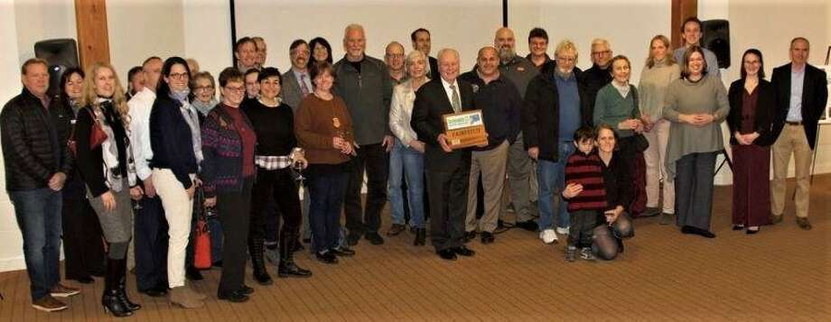 First Selectman Mike Tetreau, center, with members of the Sustainable Fairfield Task Force. Photo: Contributed Photo
