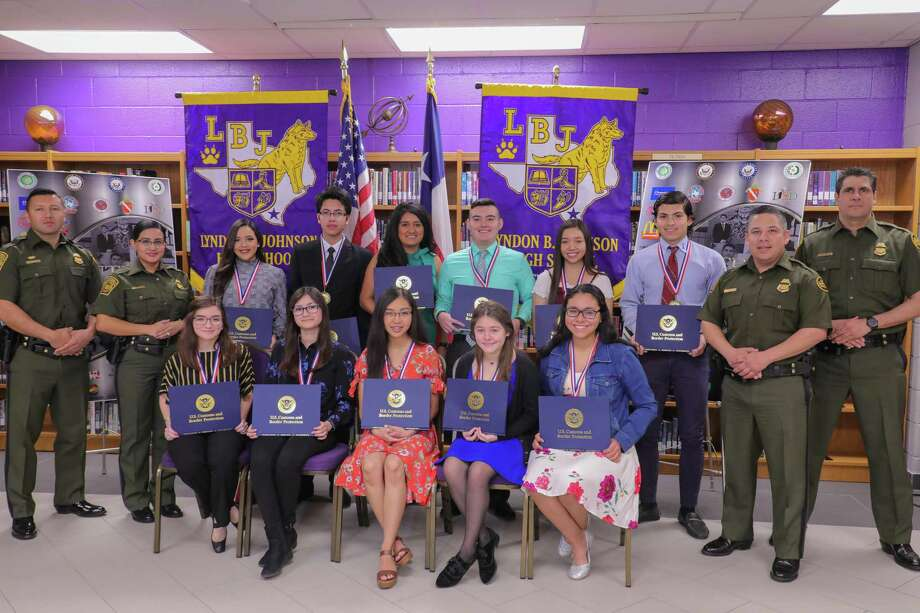 Cutline: Back Row LtR: Alejandro De La Rosa, Border Patrol Agent, Carolina Machado, Border Patrol Agent; Bethanny Cantu, United South High School; Jesus A. Ortiz, United High School; Amber Davila, Lyndon B. Johnson High School; Ebilberto Gonzalez, St. Augustine High School; Alonso Gutierrez, Border Patrol Agent; Clay Fulgham, Border Patrol Agent Front Row LtR: Valeria Guerrero, J.W. Nixon High School; Karen Morales, Staggs Academy of International and STEM Studies; Mary Patricio, John B. Alexander High School; Sylvia Martinez, Dr. Leonides G. Cigarroa High School; Kassandra Romero, Hector J. Garcia Early College High School Photo: /