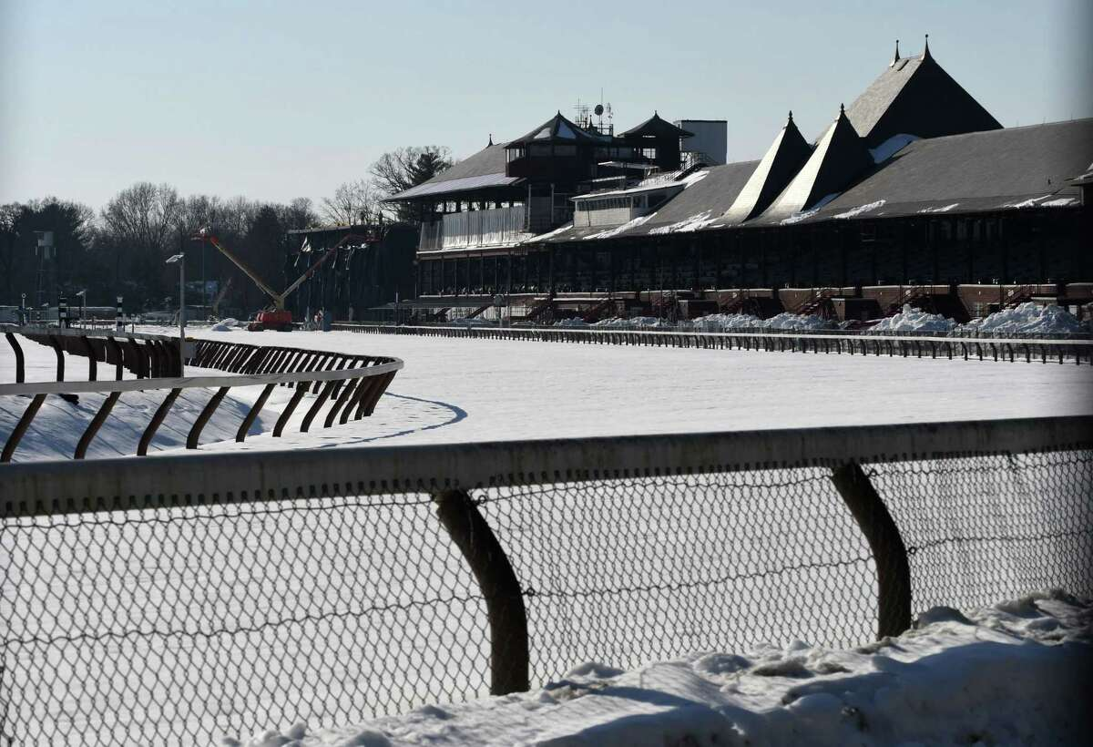 Winter view of Saratoga Race Course on Monday, Feb. 4, 2019, in Saratoga Springs, N.Y. The New York Racing Association Board has approved a resolution that would start the 156th meet on July 11 and end it on Labor Day. (Will Waldron/Times Union)