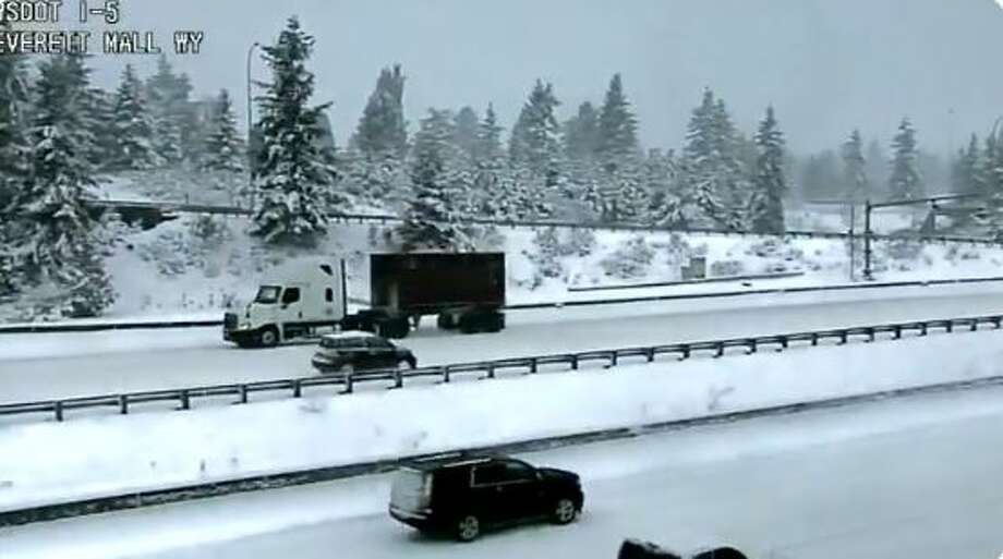 A driver heads north on the southbound lanes of Interstate 5 near Everett Mall after spinning out, according to the Washington State Department of Transportation. Photo: Courtesy WSDOT
