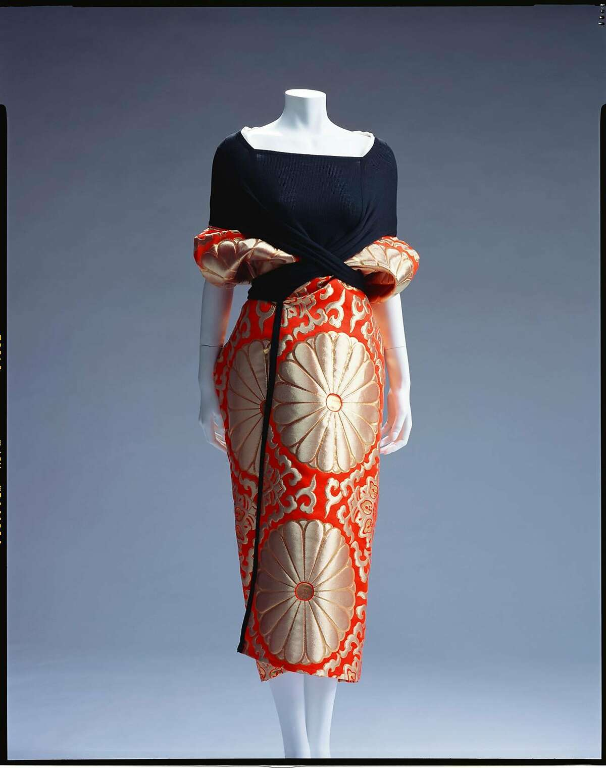 Dress, Spring/Summer 1995, by Yohji Yamamoto (Japanese, b. 1943). Silk/rayon-blend jersey and polyester/rayon/nylon-blend brocade.�Collection of The Kyoto Costume Institute.