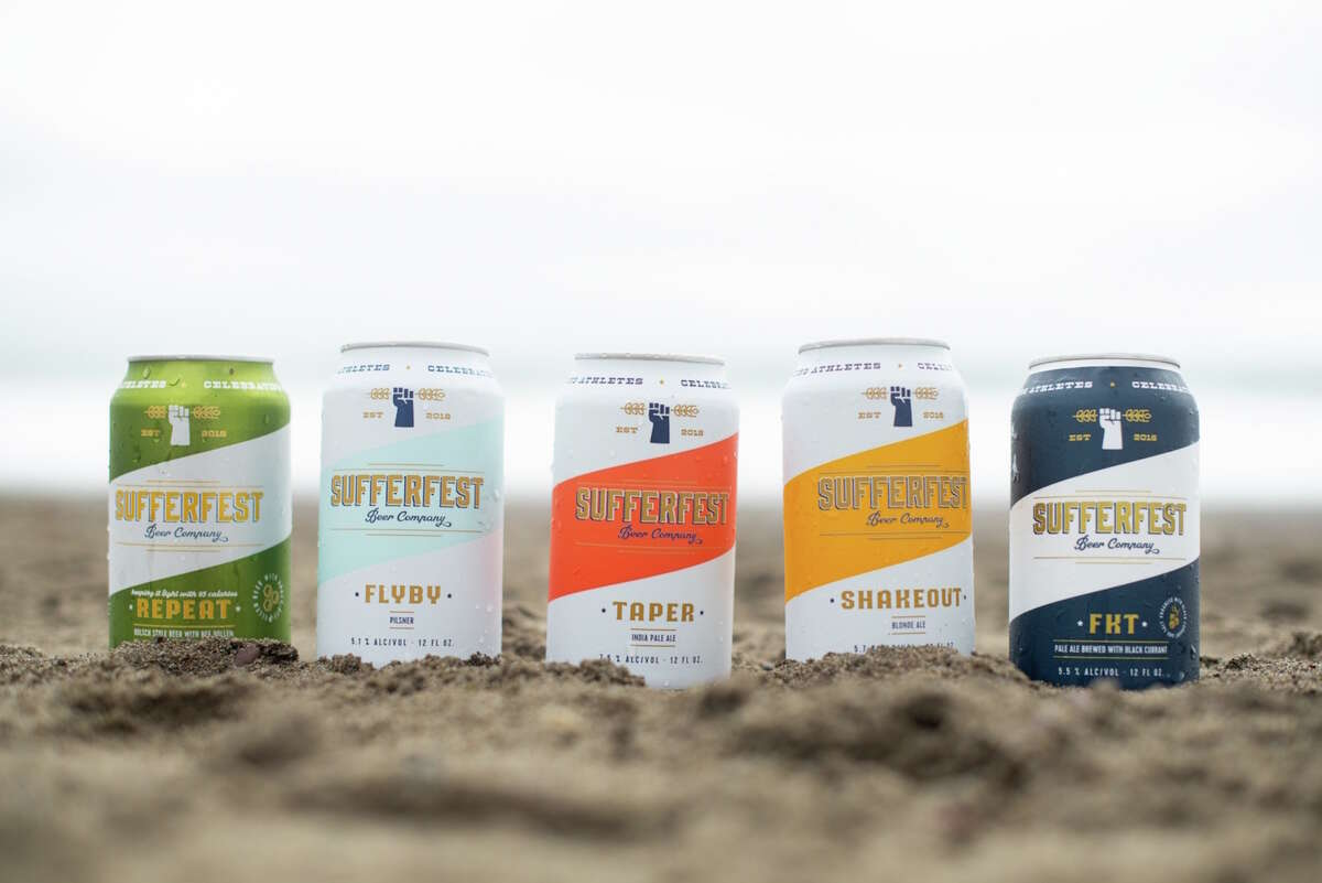 Cans of Sufferfest's gluten-removed beers.