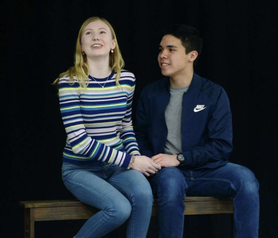 "Elizabeth Watkinson and Austin Tovar rehearse a scene for the upcoming performance of ""The Fantasticks"" at Westhill High School's Little Theater in Stamford, Conn. Sunday, Feb. 4, 2019. The show will be performed in the Student-Run Showcase along with short scenes from ""Rumors,"" ""The Fall of an Empire,"" and ""404 Error Unknown."" ""The Fantasticks"" is a 1960 musical with music by Harvey Schmidt and lyrics by Tom Jones telling the tale of two neighbors who trick their children into falling in love by pretending to feud. The Student-Run Showcase will be held Feb. 8 and 9 at 8 p.m. and Feb. 10 at 3 p.m. Photo: Tyler Sizemore / Hearst Connecticut Media / Greenwich Time"