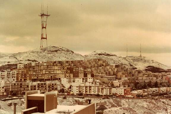 A photo of snow in San Francisco after a surprise 1976 snowfall. Bill fox, a 25-year-old SFPD officer at the time, took the photos near his diamond heights apartment.