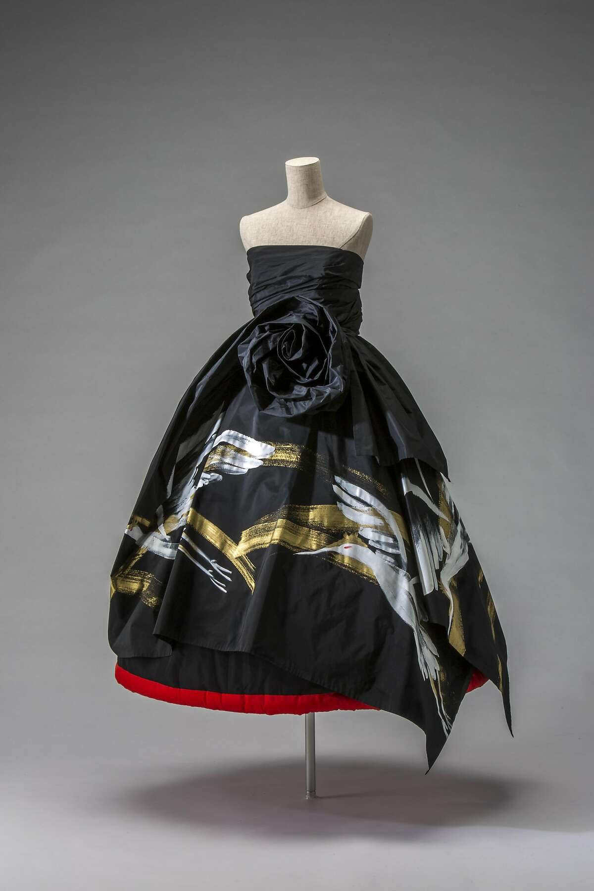 Evening dress, Autumn/Winter 1991, by Rei Kawakubo (Japanese, b. 1942) for Comme des Gar�ons Noir. Silk taffeta with hand painting. Collection of The Kyoto Costume Institute.