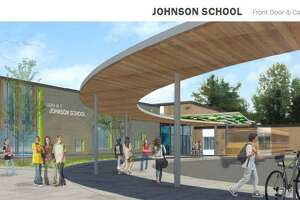 An architect's rendering of renovation plans for Johnson School in Bethel.