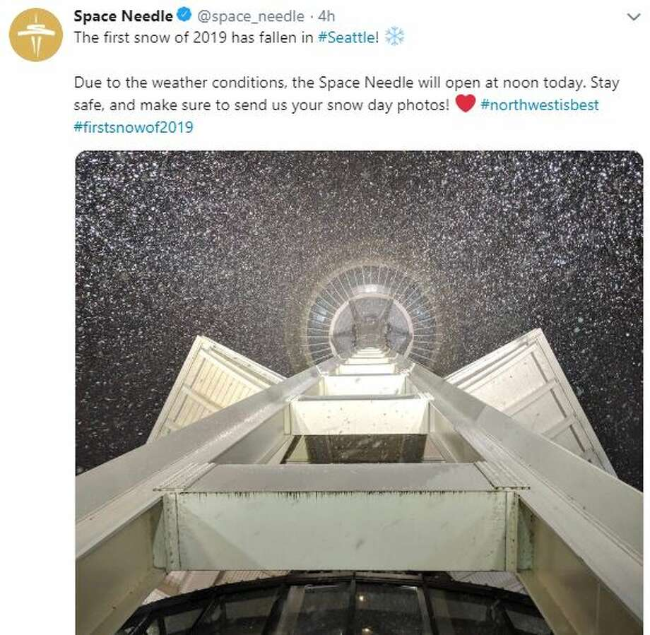 The Space Needle's Twitter account shared photos of snow around the Seattle icon Monday, Feb. 4, 2019. Photo: Twitter Screen Grab