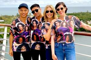 Native Houstonians Bernardo Siaotong and Marc Sifuentes, who now live in  New York, joined Houston residents Tonya Riner and Gail Rubin in  showing off their Oprah Tshirts style on the O, The Oprah Magazine's  Girls' Getaway Cruise on Holland America.