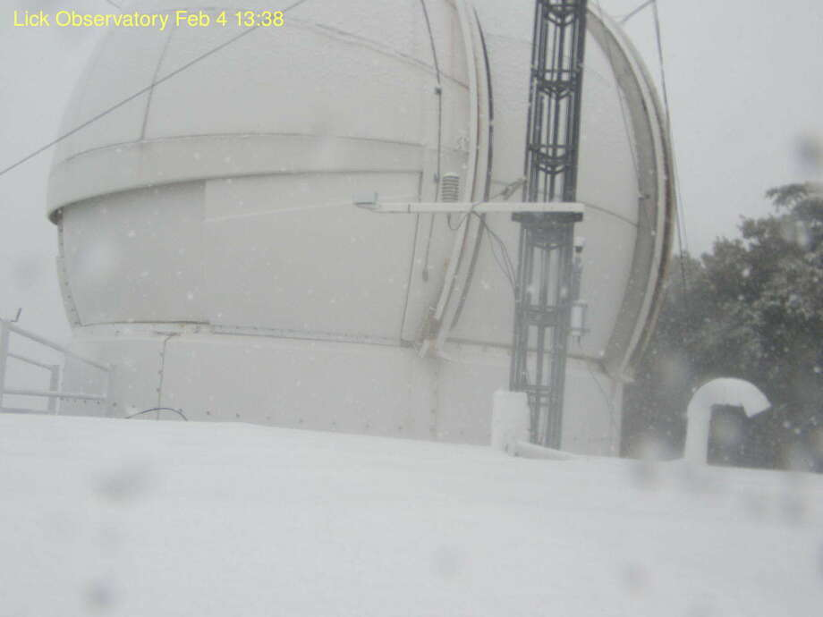 Snow dusted the southern axis of Mount Hamilton on Monday, Feb. 4, 2018. Photo: Courtesy: Lick Observatory/University Of California