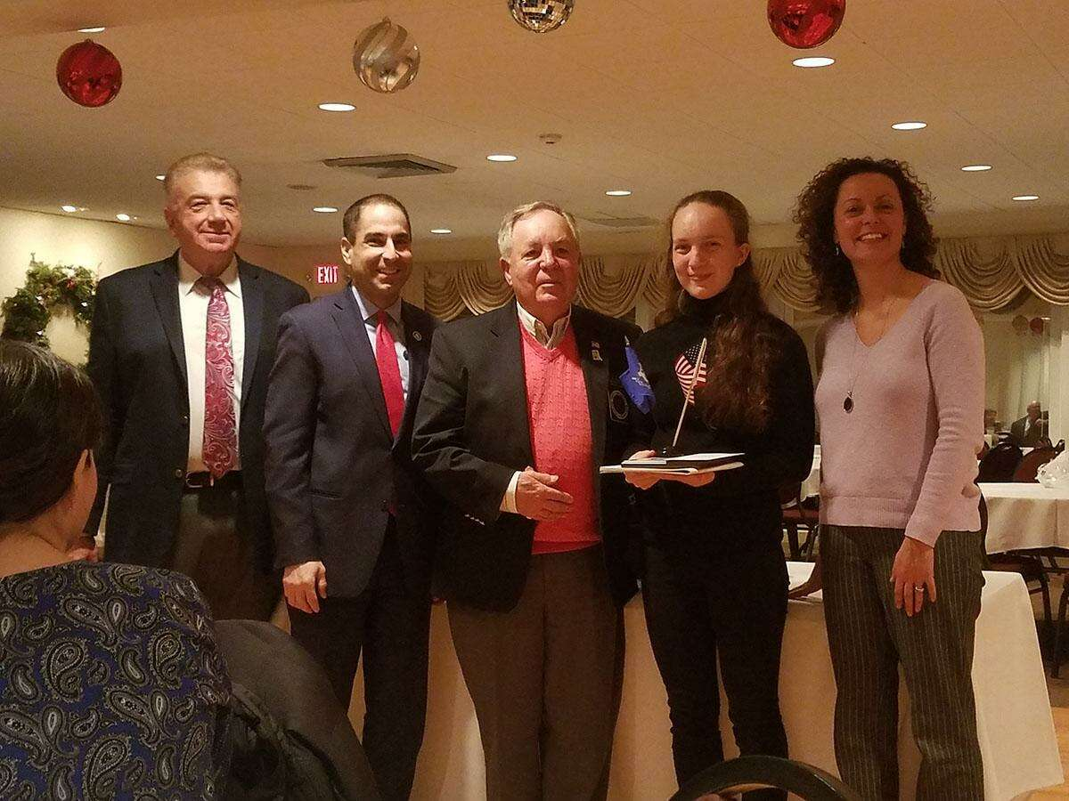 Julia Bauer, a Wooster School 12 grade student, received the Student of the Month Award from the Danbury chapter of the National Exchange club. Bauer is second from the right.