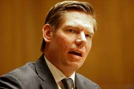 Congressman Eric Swalwell talks with the Chronicle editorial board in San Francisco, Calif., as seen on Wed. Mar. 28, 2018.