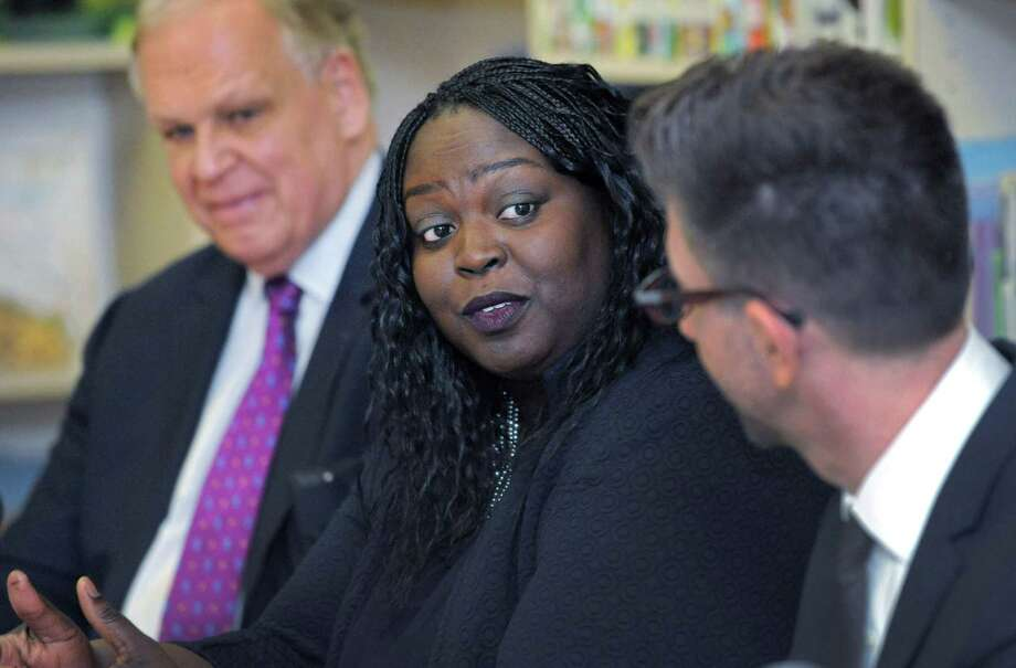 racey Elementary School Principal Theresa Rangelm speaks during roundtable discussion in January 2019. Photo: Erik Trautmann / Hearst Connecticut Media / Norwalk Hour