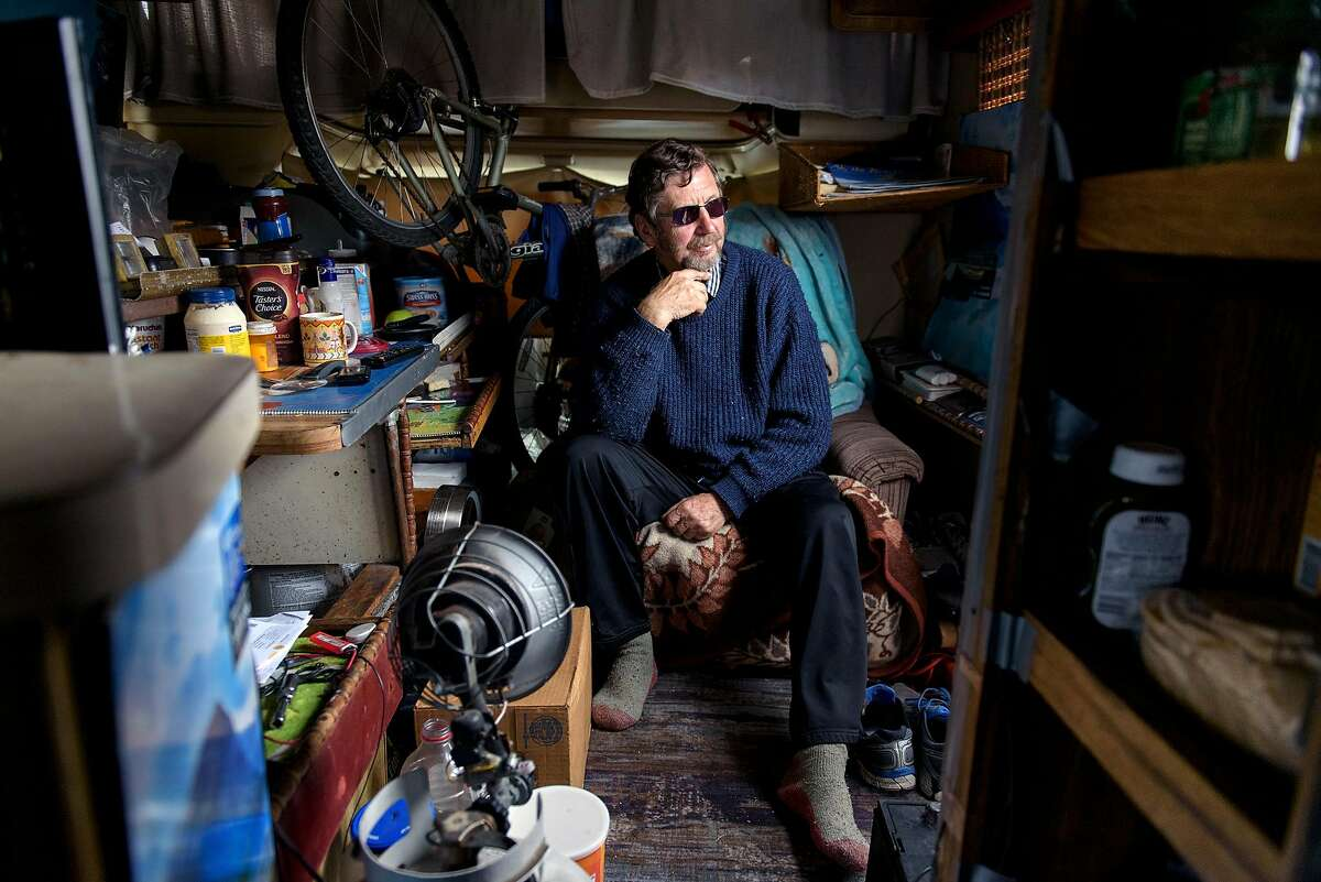 Tony Lawrence, who makes money recycling cardboard boxes, sits in his RV, which he said he has been living out of for about 3 years, on Caesar Chavez Street in San Francisco, Calif., on Monday, February, 2019. San Francisco Supervisor Vallie Brown is proposing legislation designed to help people camping in their cars and RV's by giving them a designated and safe place to park.