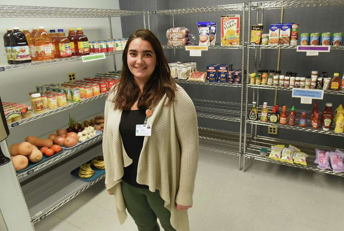 Program Manager Hana Chehade stands in the Food Farmacy at the Ellis Medicine McClellan Street Health Center on Monday, Feb. 4, 2019 in Schenectady, N.Y. (Lori Van Buren/Times Union)