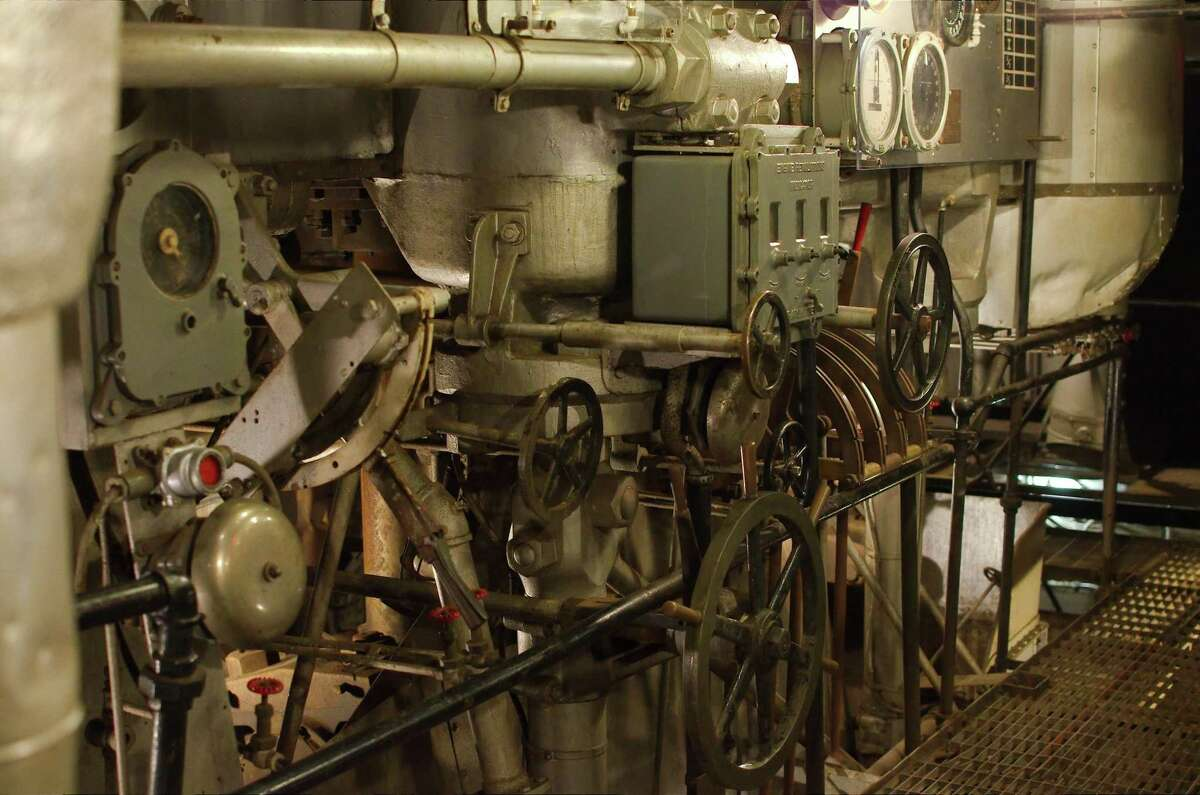 Engine gauges and controls are visible in the engine room that was recently added to tours of the Battleship Texas after repairs.