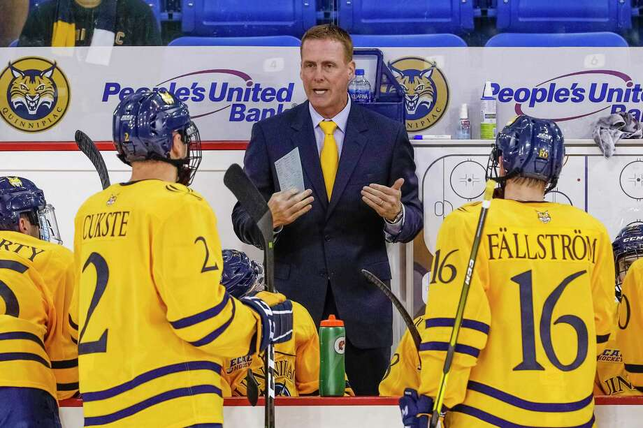 Coach Rand Pecknold and the Quinnipiac hockey team is coming off a weekend road sweep of Clarkson and St. Lawrence. Photo: Rob Rasmussen / Quinnipiac Athletics File Photo / © Rob Rasmussen