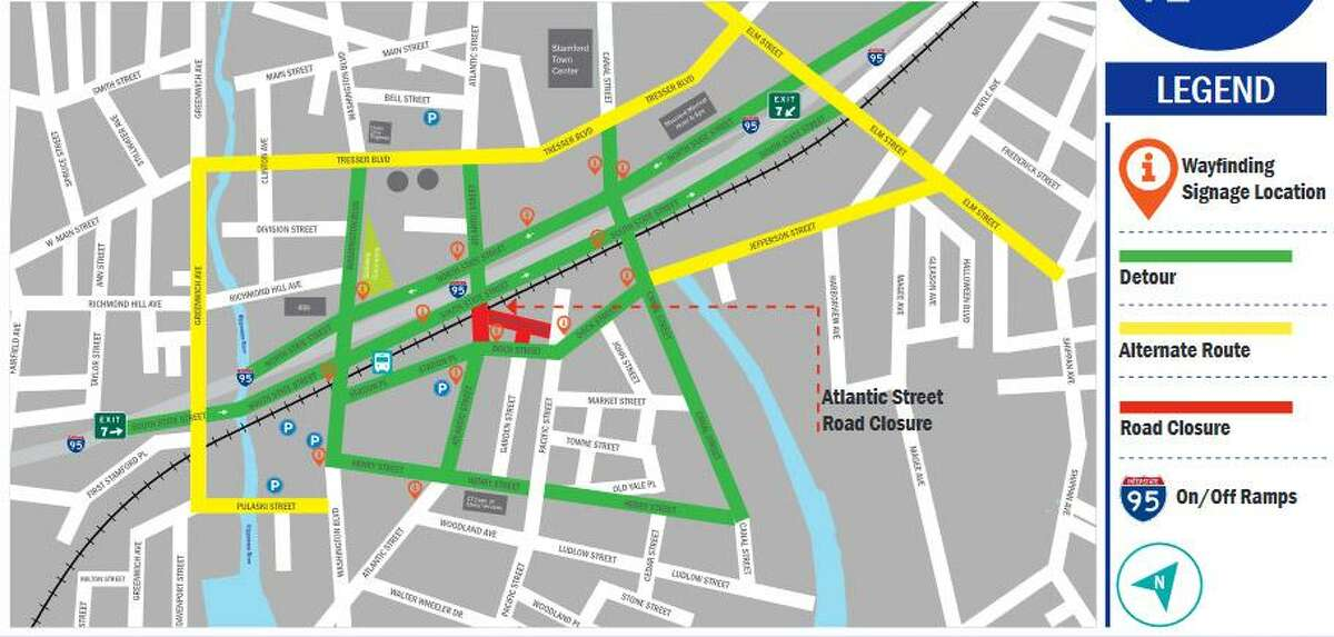 A map of alternate routes for commuters while Atlantic Street is closed for renovations, which will include the replacement of the Atlantic Street Bridge. Atlantic Street between South State Street and Dock Street will be closed from Feb. 19 to September.