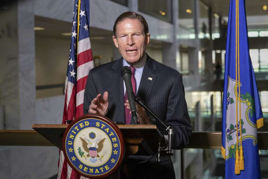 Sen. Richard Blumenthal, D-Conn., a member of the Senate Judiciary Committee, tells reporters that he will vote against confirming Attorney General nominee Bill Barr later this week, on Capitol Hill in Washington, Monday, Feb. 4, 2019. Blumenthal had just finished meeting with Barr. (AP Photo/J. Scott Applewhite) Photo: J. Scott Applewhite / Associated Press / Copyright 2019 The Associated Press. All rights reserved.