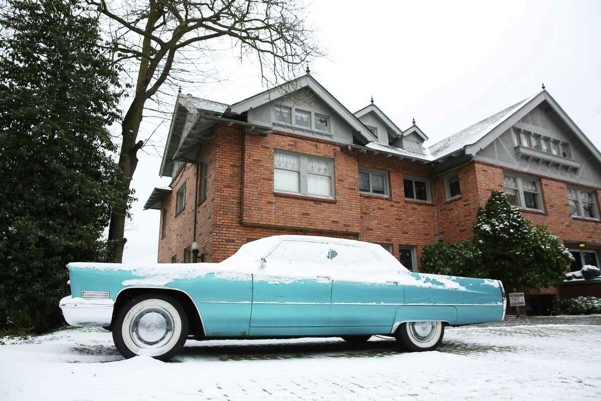 Cars are coated in several inches of snow Monday afternoon in Queen Anne, Feb. 4, 2019.