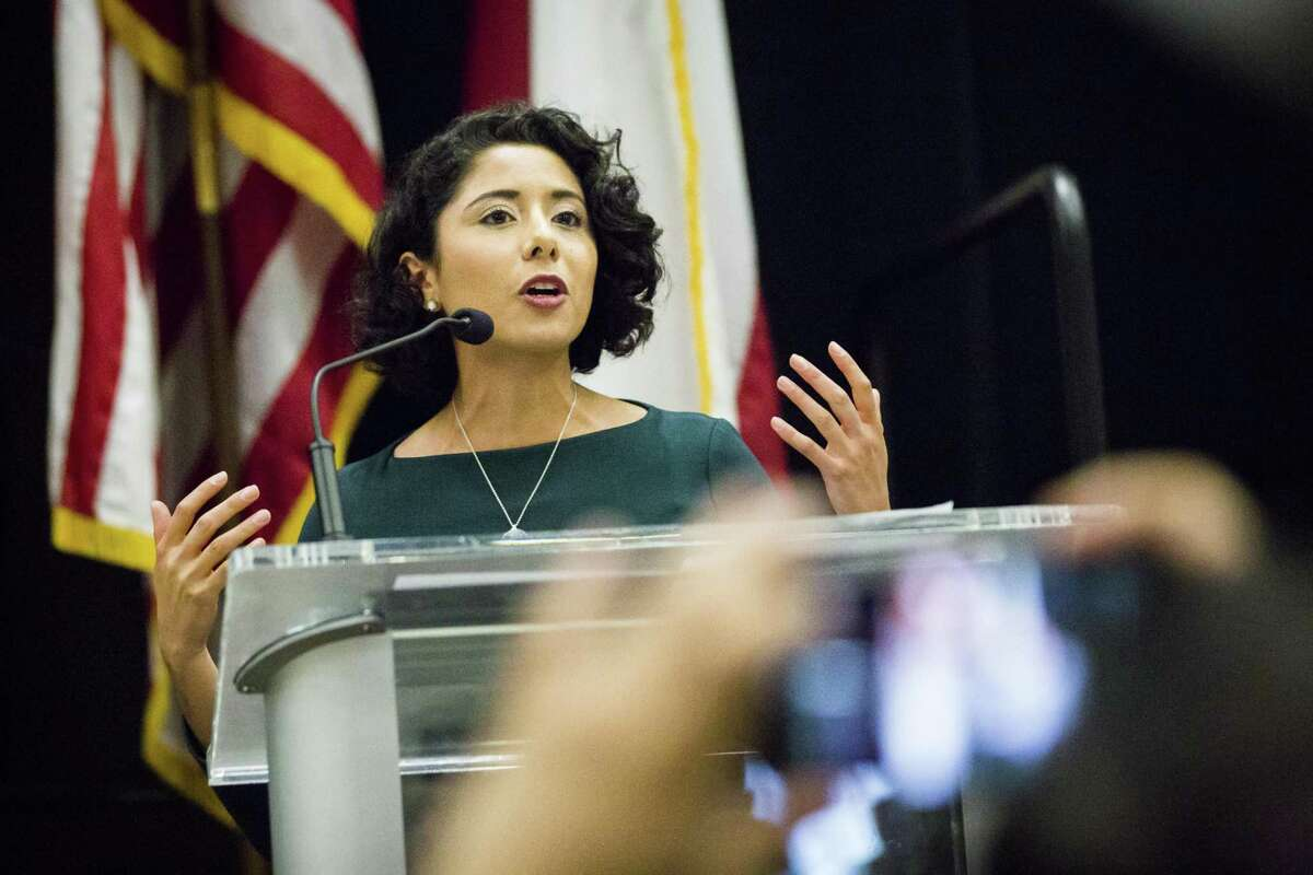 Harris County Judge Lina Hidalgo speaks to the crowd during her annual State of the County address on Friday, Nov. 15, 2019, in downtown Houston.