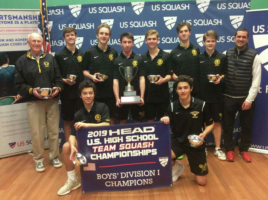 The Brunswick School squash team won the Division I title at the 2019 HEAD U.S. High School Team Squash Championships at Trinity College in Hartford on Sunday. It marked the Bruins' second straight national title. Photo: Contributed Photo / Greenwich Time Contributed