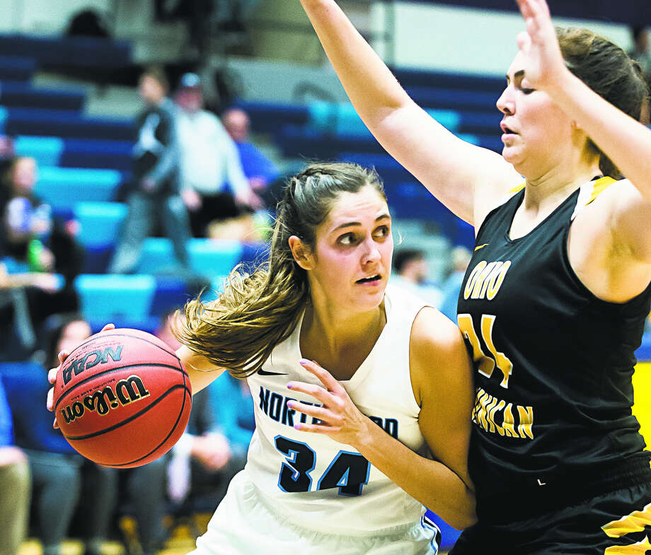 Northwood's Grace German posts up in a game against Ohio Dominican on Nov. 20, 2018. Photo: Daily News File Photo