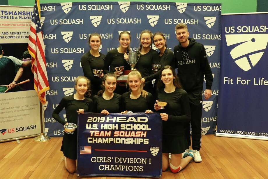 Greenwich Academy won the Division I title at the 2019 HEAD U.S. High School Team Squash Championships at Trinity College on Sunday. The championship team included: front row, left to right, Brecon Welch, Emma Carney, Binney Huffman and Lindsay Westerfield. Back row, left to right, Claire Aube, Lucy Stephenson, India Stephenson, Haley Aube and coach Luke Butterworth. Photo: Dave Fierro / Hearst Connecticut Media / Greenwich Time