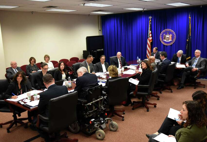 Joint Commission of Public Ethics commissioners take part in the monthly JCOPE meeting on Tuesday, Oct. 30, 2018, in Albany, N.Y. (Will Waldron/Times Union)