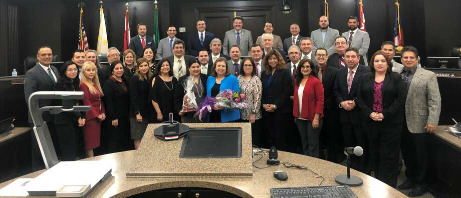 Laredo City Council and city staffers recognized Cynthia Collazo on Monday, Feb. 4, 2019 for her decades of service to the city. She retired on Jan. 31. Photo: Julia Wallace/Laredo Morning Times